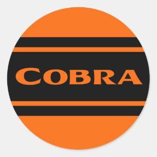 Orange Black Race Stripes Cobra Sticker Round Sticker