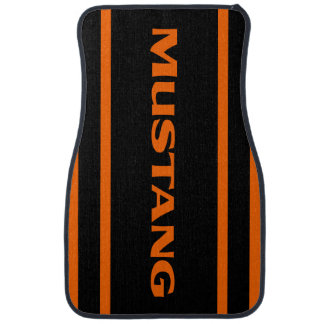 Orange Black Racing Stripes Mustang Floor Mats