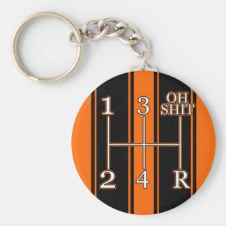 Orange Black Racing Stripes Shift Knob Keychain