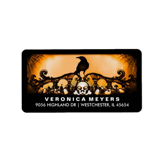 Orange & Black Raven Halloween Address Label