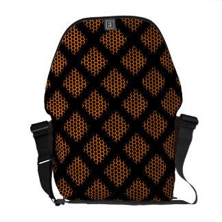 Orange, Black Retro Circles and Dot Messenger Bags