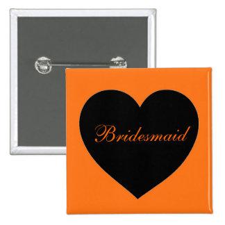 Orange black simple heart bridesmaid button