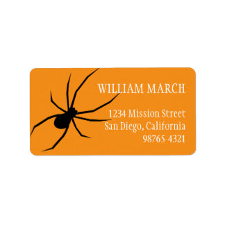 Orange black spider Halloween return address Address Label