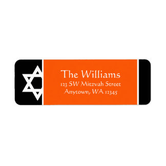 Orange Black Star of David Return Address Return Address Label