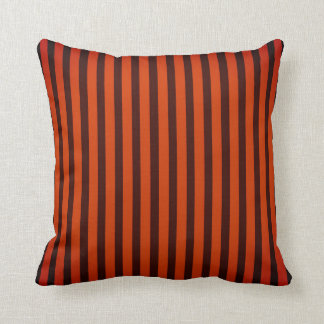 Orange/Black striped Throw Pillow