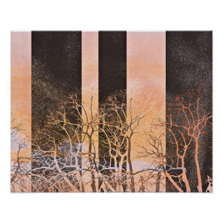 orange black stripes on winter tree poster