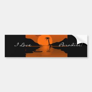 Orange/Black Sunset with Water Scene Bumper Sticker