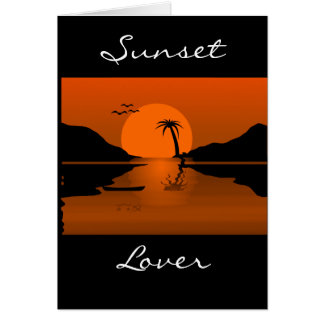 Orange/Black Sunset with Water Scene Customizable  Greeting Card