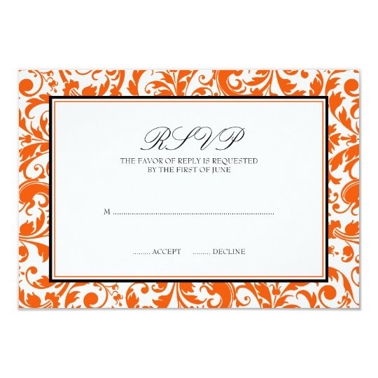 Orange Black Swirl Damask Wedding Response Card