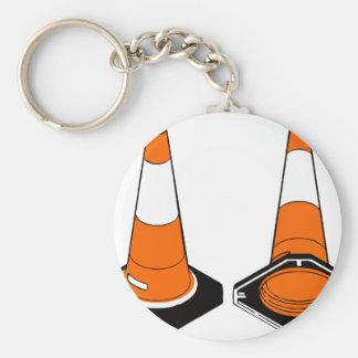 orange black  Traffic cones safety pylons Key Ring