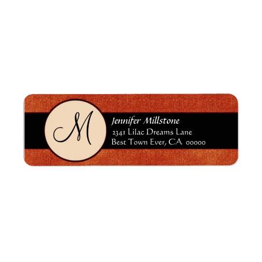 Orange & Black Wedding Monogram Address Label