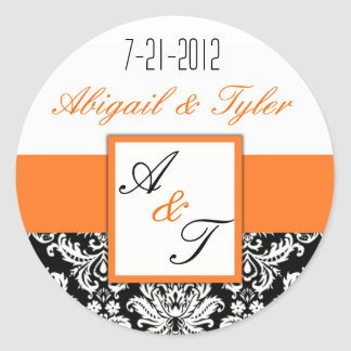 Orange Black Wedding Monogram Damask Sticker