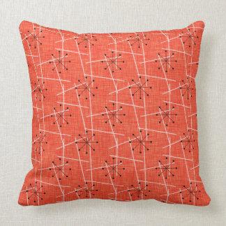 Orange, Black, White | Atomic | Mid-Century Throw Pillow