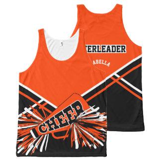 Orange, Black & White Cheerleader All-Over Print Tank Top