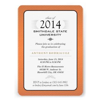 Orange Black & White Formal Graduation Invitation
