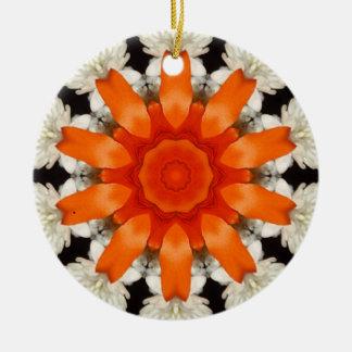 Orange Black White Kaleidoscope Christmas Ornament