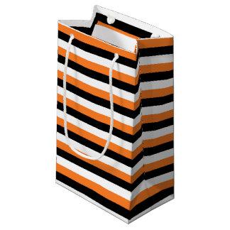 Orange, Black, White Stripes Small Gift Bag