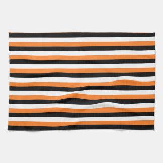 Orange, Black, White Stripes Tea Towel