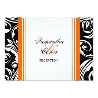 Orange black white wedding engagement card