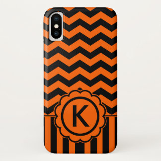 Orange Black Zig Zag Monogram iPhone X Case