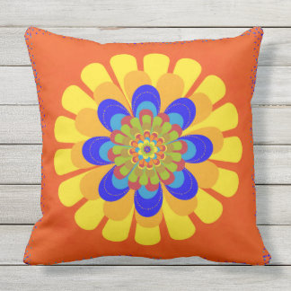 Orange Bloom Flower Cushion
