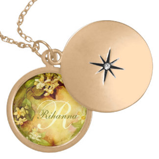 Orange Blossom Initial Locket