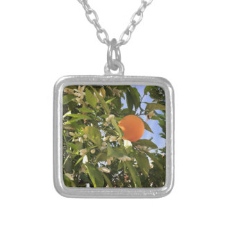 Orange blossoms silver plated necklace