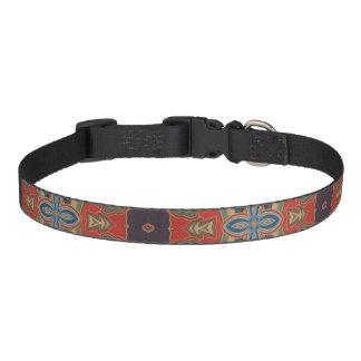 Orange Blue and Brown Design Dog Collar