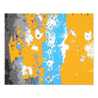 Orange, Blue and Gray Abstract Graphic. 11.5 Cm X 14 Cm Flyer