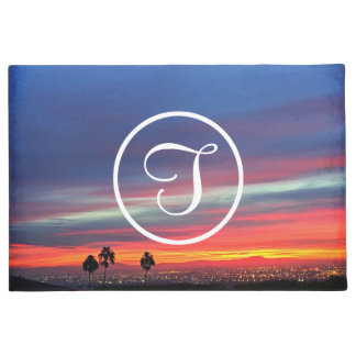 Orange blue and red sunrise photo custom monogram doormat