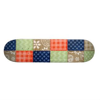 Orange, Blue, Brown and Sage Green Patchwork look Skate Deck
