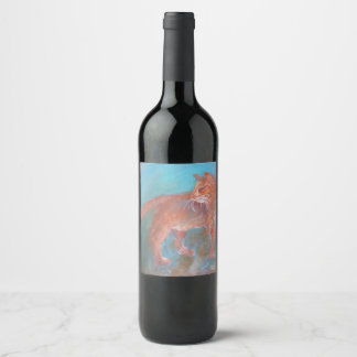 orange blue cat wine label
