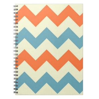 Orange blue chevron zigzag preppy zig zag pattern notebooks