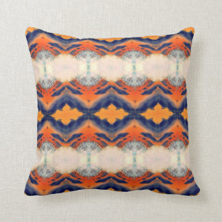 Orange blue cream striped retro pattern cushion