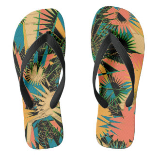Orange/Blue Custom Wide Straps / Flip Flops