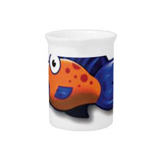 orange blue fish pitcher