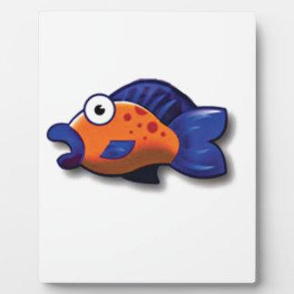 orange blue fish plaque