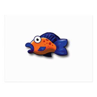 orange blue fish postcard