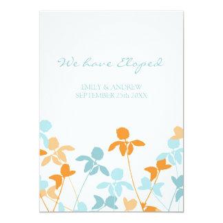Orange Blue Floral Elopement Announcement Cards