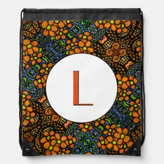 Orange Blue Floral Pattern Monogrammed Drawstring Bag