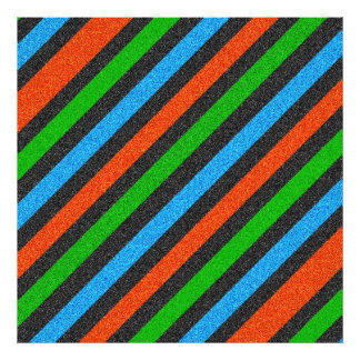 Orange, Blue, Green, Black Glitter Striped Photograph
