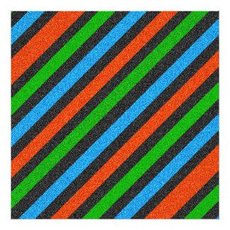 Orange Blue Green Black Glitter Striped Photographic Print