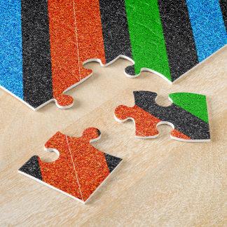 Orange, Blue, Green, Black Glitter Striped STaylor Jigsaw Puzzle