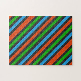 Orange, Blue, Green, Black Glitter Striped STaylor Jigsaw Puzzle