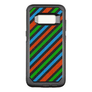 Orange, Blue, Green, Black Glitter Striped STaylor OtterBox Commuter Samsung Galaxy S8 Case