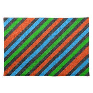 Orange, Blue, Green, Black Glitter Striped STaylor Placemat