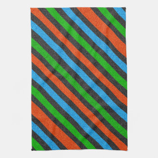 Orange, Blue, Green, Black Glitter Striped STaylor Tea Towel