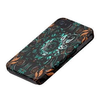Orange Blue Grey Floral Iphone 4 Case Mate Case