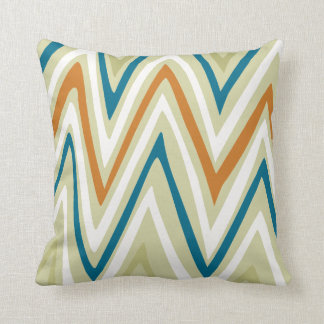 Orange Blue Lime and Cream ZigZag Design Pillow
