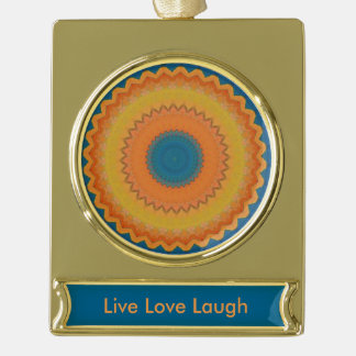 Orange Blue Live Laugh Mandala Gold Plated Banner Ornament